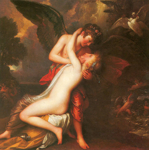 Benjamin West Poster featuring the painting Cupid And Psyche by Benjamin West