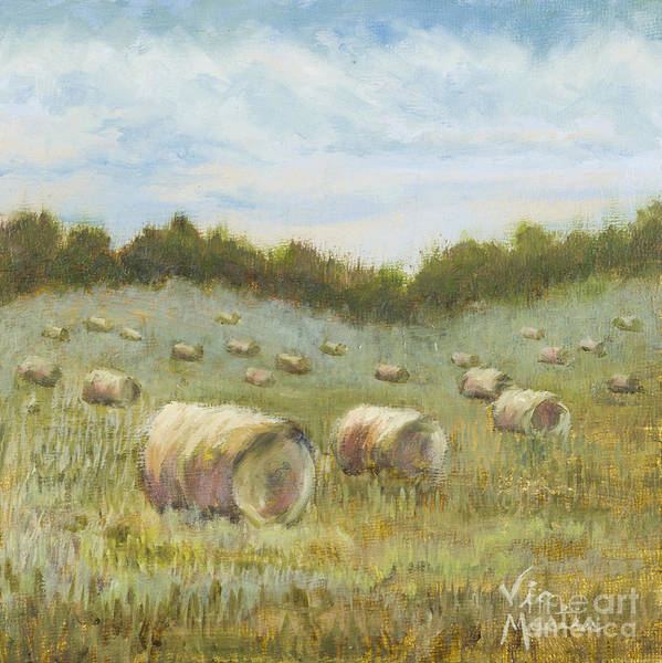 Hay Bales Poster featuring the painting Day Is Done by Vic Mastis