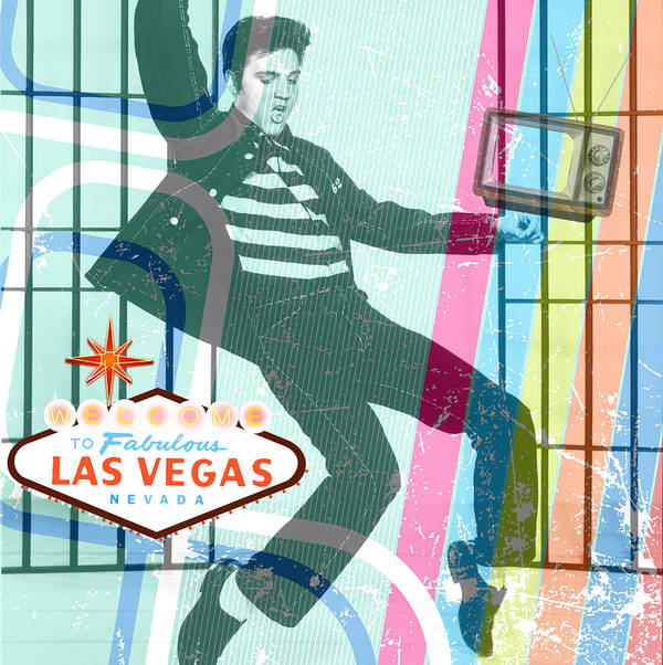 Elvis Poster featuring the mixed media Elvis Jailhouse Rock by Michelle Dallocchio