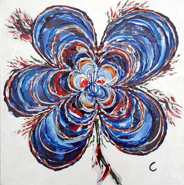Blue Poster featuring the mixed media Fire Flower by Cecilia Uneland