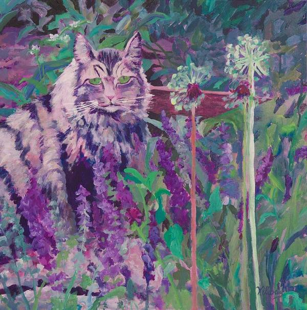 Cat Painting Poster featuring the painting Fletcher's Garden by Joan Willoughby