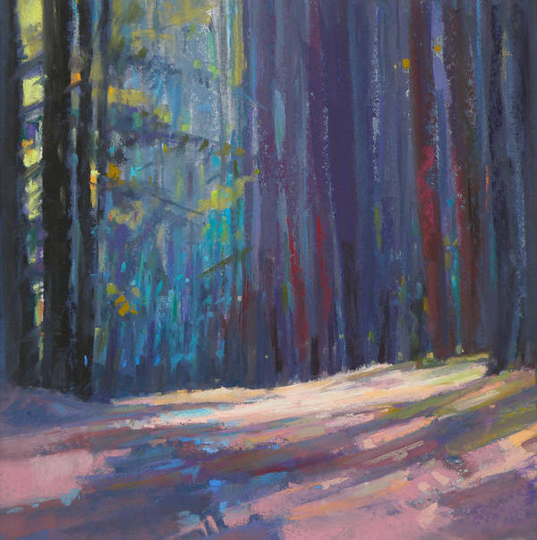 Pastel Poster featuring the painting Forest Light by Ed Chesnovitch