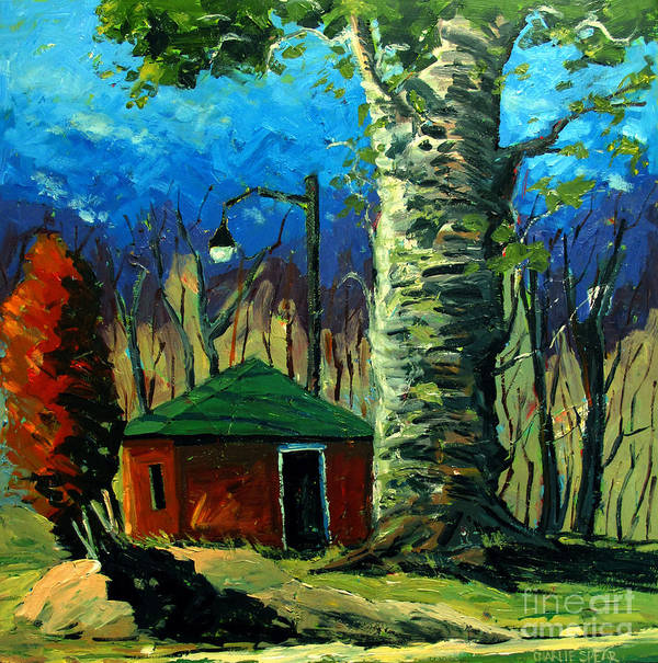 Landscape Poster featuring the painting Golf Shed Series No 17 by Charlie Spear