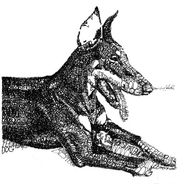 Dog Poster featuring the drawing Good Dog by Michael Volpicelli