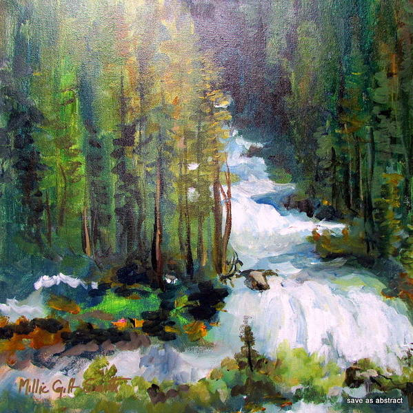 Falls Pine Trees Greens Orange White Falls Surrounded By Pines Poster featuring the painting Green Creek Falls by Millie Gift Smith