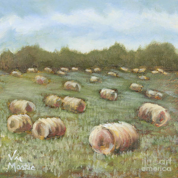 Hay Bales Poster featuring the painting Haybales In The Field by Vic Mastis