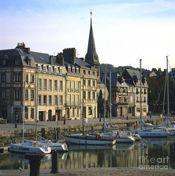 Architecture Boat Boats Building Buildings Calvados Day Daylight Daytime During Europe European Exterior Exteriors France French Harbor Harbour Harbour Honfleur House Houses Nobody Normandy Outdoor Photo Photos Port Ports Shot Shots The Poster featuring the photograph Honfleur Harbour. Calvados. Normandy. France. Europe by Bernard Jaubert