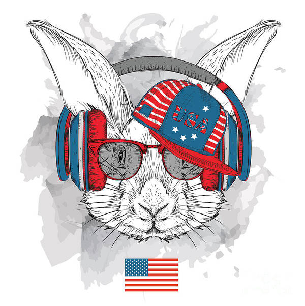 Fur Poster featuring the digital art Illustration Of Rabbit In The Glasses by Sunny Whale