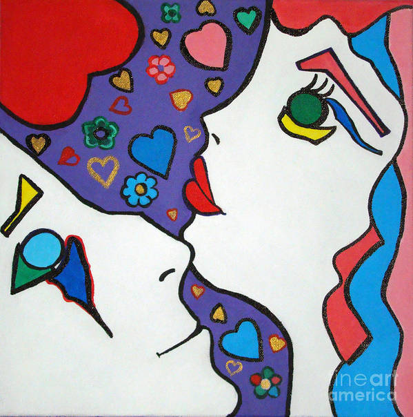 Pop-art Poster featuring the painting In Love by Silvana Abel