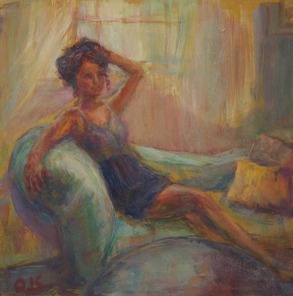 Woman Poster featuring the painting In The Window Light by Quin Sweetman