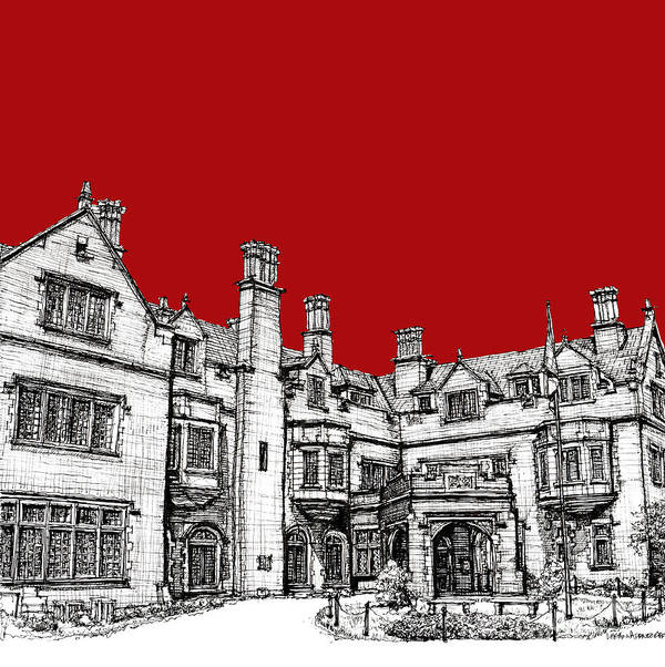 Red Poster featuring the drawing Laurel Hall In Red by Adendorff Design