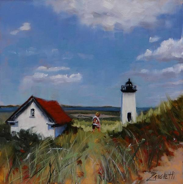 Lighthouse Poster featuring the painting Long Point Lighthouse by Laura Lee Zanghetti