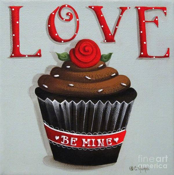 Art Poster featuring the painting Love Valentine Cupcake by Catherine Holman