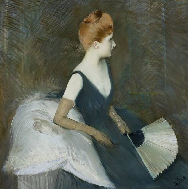 Female; Portrait; Profile; Three-quarter Length; Marthe Letellier; Fan; Sofa; Couch; Leaning; Seated; Evening Dress; Gloves; French Poster featuring the pastel Madame Marthe Letellier Sitting On A Sofa by Paul Cesar Helleu