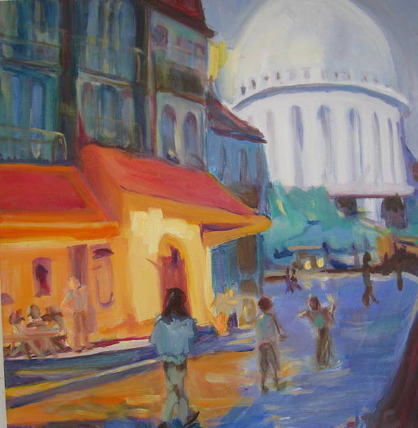 Street Scene Poster featuring the painting Monmartre by Julie Todd-Cundiff