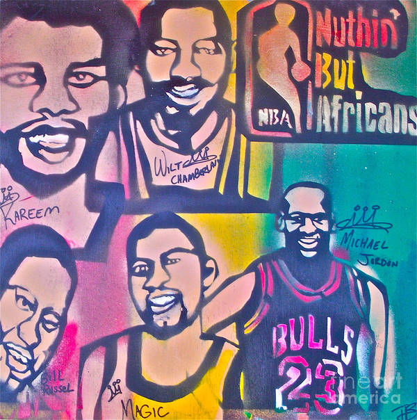 Kareem Abdul-jabbar Poster featuring the painting Nba Nuthin' But Africans by Tony B Conscious