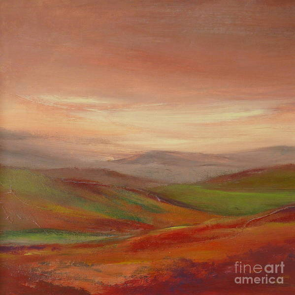 Landscape Poster featuring the painting Over The Valley by Hazel Millington