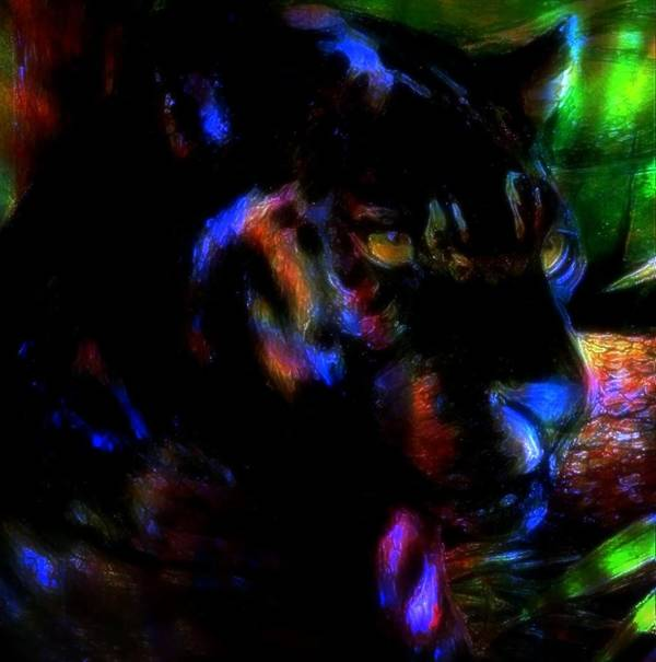 Panther Poster featuring the mixed media Panther by Wendie Busig-Kohn