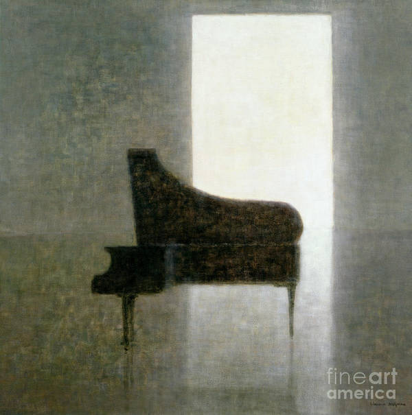 Open; Grand; Solitude; Musical Instrument; Empty; Solitary; Shadow; Silhouette; Doorway; Silent; Silence Poster featuring the painting Piano Room 2005 by Lincoln Seligman