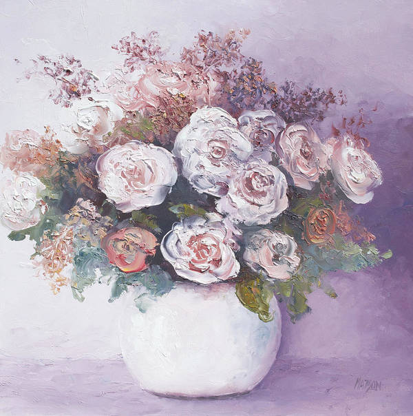 Roses Poster featuring the painting Pink And White Roses by Jan Matson