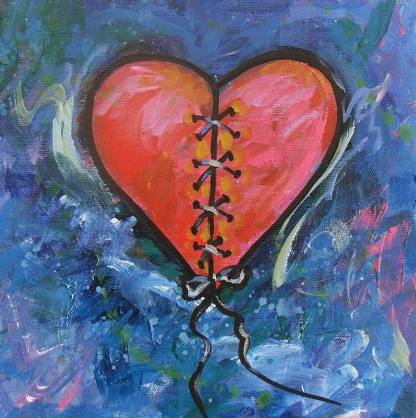 Poster featuring the painting Pink Mended Broken Heart by Carol Suzanne Niebuhr