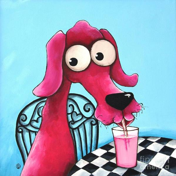 Dog Poster featuring the Pink Milk by Lucia Stewart