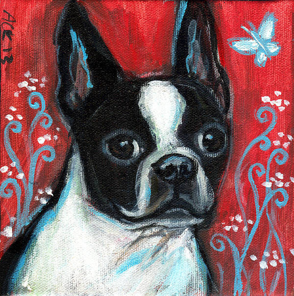 Boston Terrier Poster featuring the painting Portrait Of A Bt by Angie Ketelhut