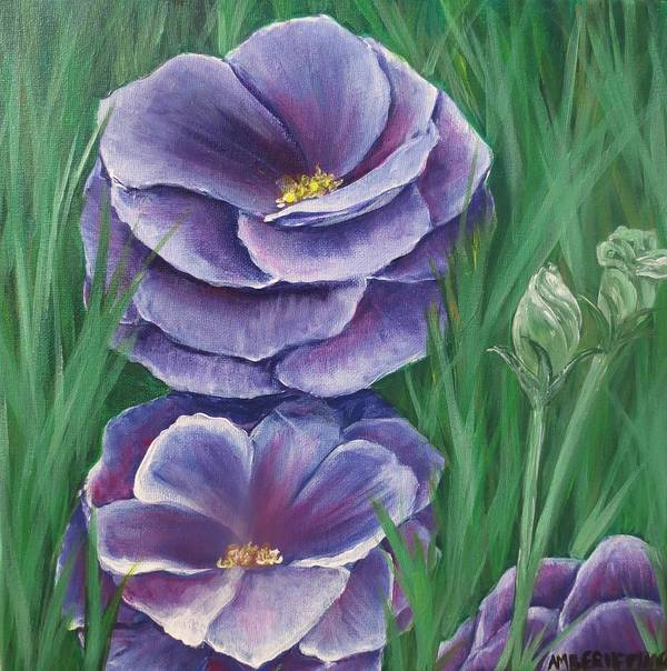 Flower Poster featuring the painting Purple Flowers by Amber Hepting