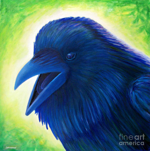 Raven Poster featuring the painting Raaawk by Brian Commerford