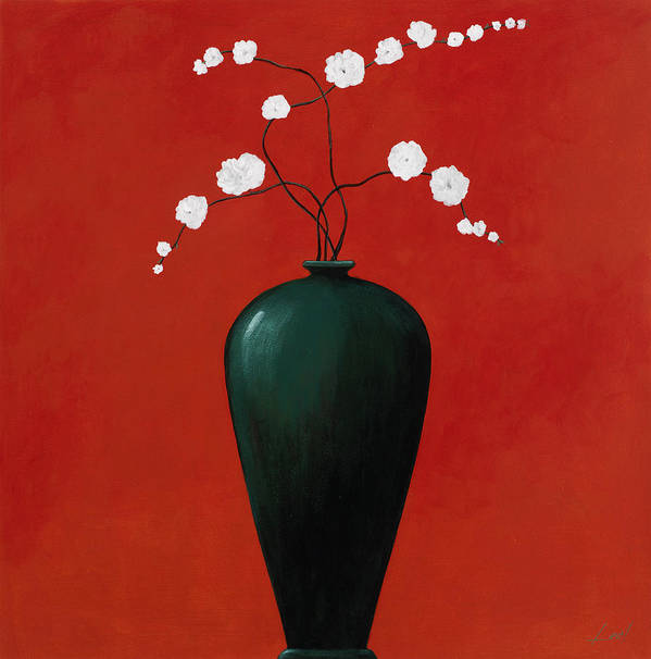 Pablo Poster featuring the painting Red Vase 1 by Pablo Esteban