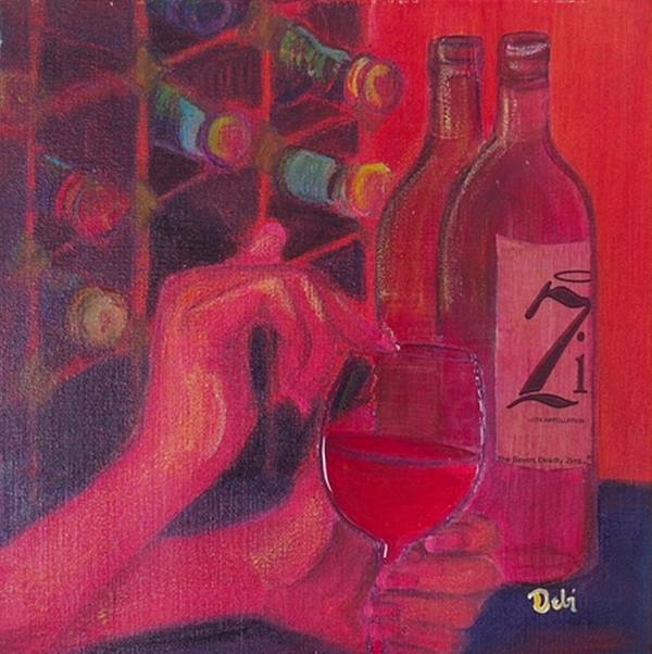Wine Poster featuring the painting Red Wine Room by Debi Starr