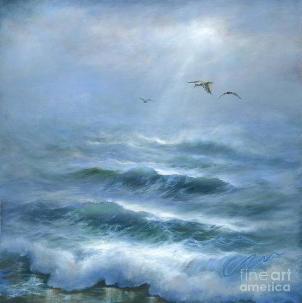 Blue Seascape Poster featuring the painting Rhythm And Blues by Sharon Abbott-Furze
