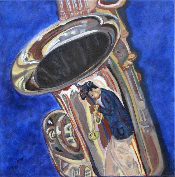 Saxophone Paintings Poster featuring the painting Saxy Reflection Sold by Bill Manson