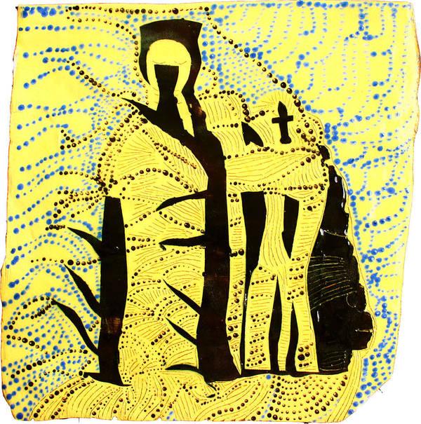 Jesus Poster featuring the ceramic art Shroud Of Jesus by Gloria Ssali