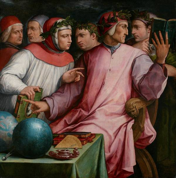 Six; Tuscan; Poet; Poets; Male; Men; Group; Portrait; Dante; Alghieri; Francesco; Petrarca; Petrarch; Guido; Cavalcanti; Cino Da Pistoia; Guittone; Giovanni; Boccaccio; Poetry; Literary; Literature; Intellect; Intellectuals; Discussion; Discourse; Conversing; Conversation; Medieval; Middle; Ages; Traditional; Dress; Costume; Gown; Gowns; Robe; Robes; Cap; Caps; Laurel; Wreath; Wreaths; Italian; Renaissance; 6 Poster featuring the painting Six Tuscan Poets by Giorgio Vasari