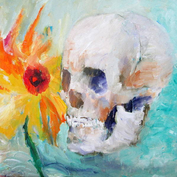 Skull Poster featuring the painting Skull And Sunflower by Fabrizio Cassetta