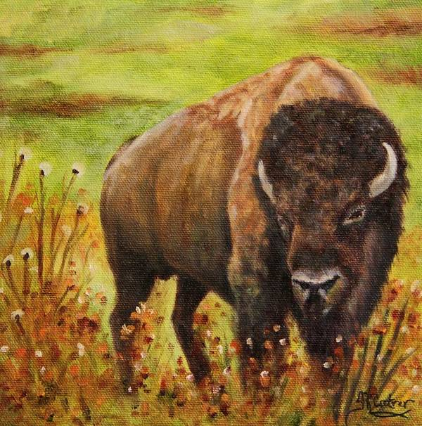 Bison Poster featuring the painting Tatanka, Buffalo by Sandra Reeves