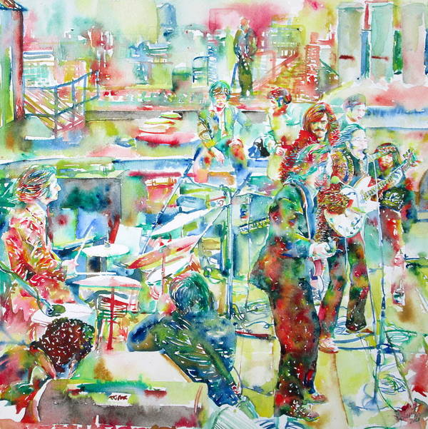 Beatles Poster featuring the painting The Beatles Rooftop Concert - Watercolor Painting by Fabrizio Cassetta