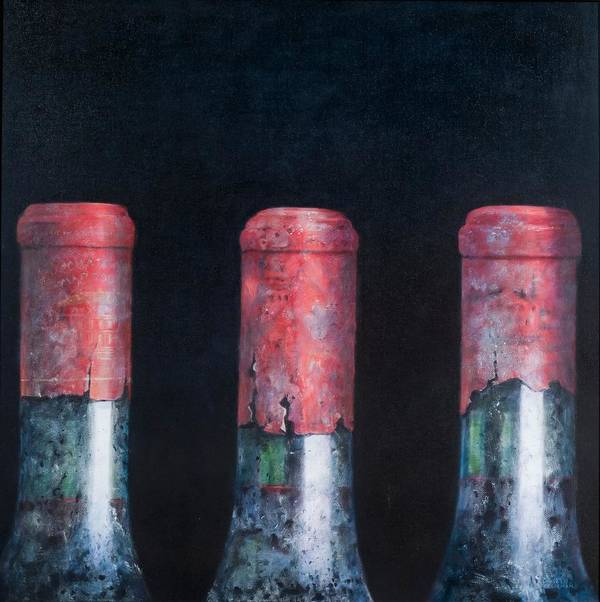 Dust; Dusty; Claret; Clarets; Red Wine; Wine; Wine Bottle; Bottle; Bottles; Wine Poster featuring the painting Three Dusty Clarets by Lincoln Seligman