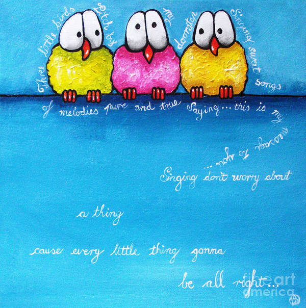 Birds Poster featuring the painting Three Little Birds by Lucia Stewart