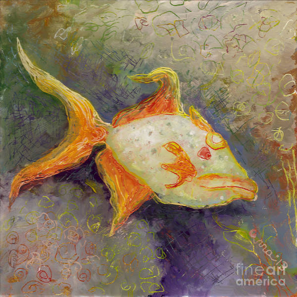 Triggerfish Poster featuring the painting Triggerfish by Anna Skaradzinska
