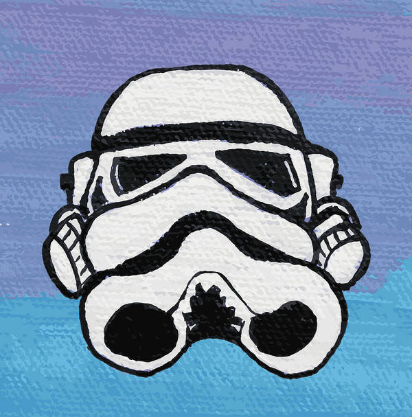 Trooper Poster featuring the painting Trooper On Purple by Jera Sky