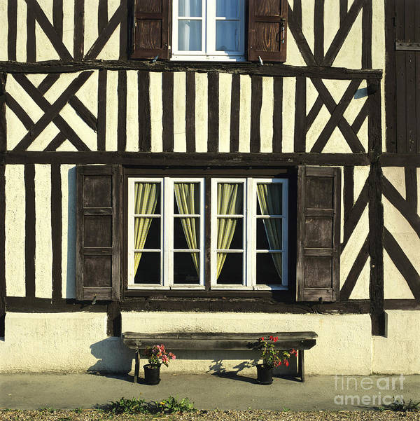 Architecture Building Buildings Day Daylight Daytime During Europe European Exterior Exteriors Facade Facades Fachwerk Fachwerk Frame Framed Framework France French Front Fronts Half Half-timbered House Houses In Mock Nobody Normandy Outdoor Photo Photos Shot Shots The Timber Timber-frame Timber-framed Timbered Tudor Tudorbethan Typical Poster featuring the photograph Typical House Half-timbered In Normandy. France. Europe by Bernard Jaubert