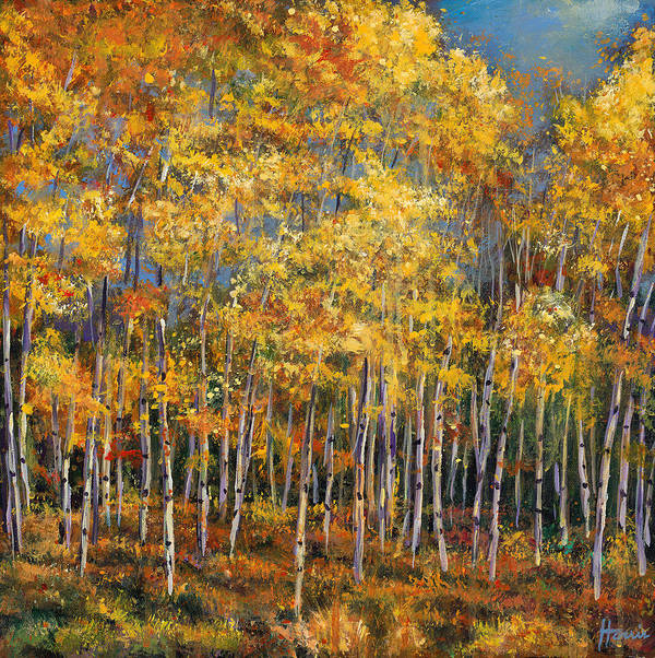 Autumn Aspen Poster featuring the painting Whispers And Secrets by Johnathan Harris