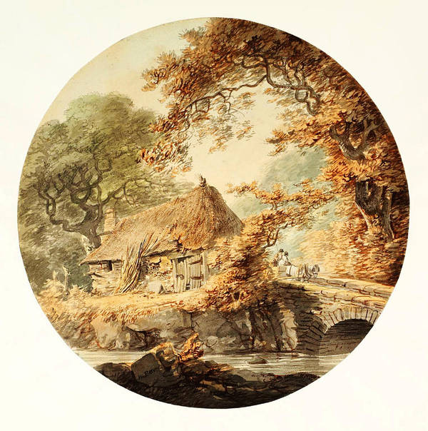 William Paynewooded Landscape With A Cottage Beside A Bridge Poster featuring the painting Wooded Landscape With A Cottage Beside A Bridge by Celestial Images