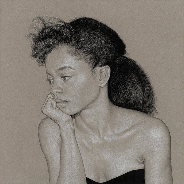 Charcoal Poster featuring the drawing Gillian 1 by David Kleinsasser