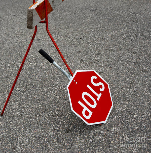 Abandoned Poster featuring the photograph Handheld Stop Sign by Marlene Ford