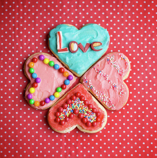 Vertical Poster featuring the photograph Heart Shaped Love Cookies by Kelly Sillaste