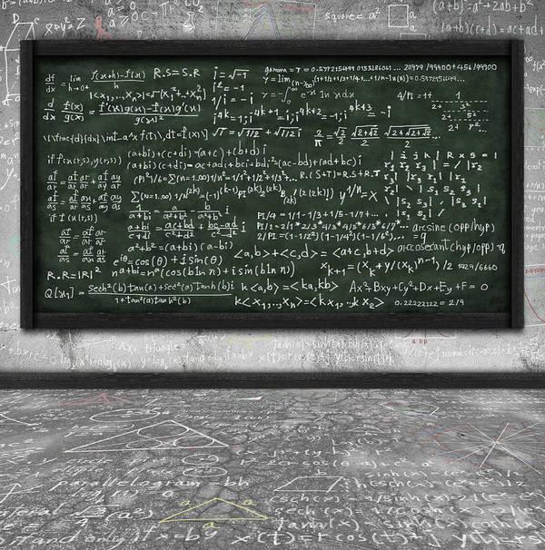 Algebra Poster featuring the photograph Maths Formula On Chalkboard by Setsiri Silapasuwanchai