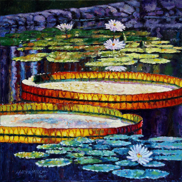 Water Lilies Poster featuring the painting Mornings Glow by John Lautermilch